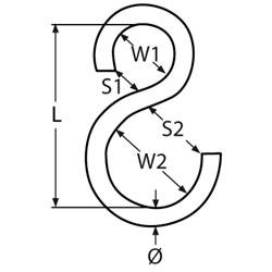 S Haken Asymmetrisch 8mm 67mm Edelstahl Aisi304a2